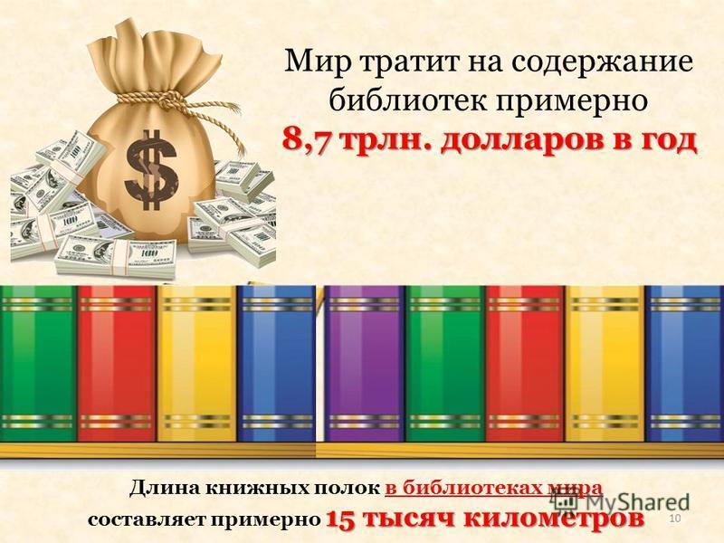Мир тратит на содержание библиотек примерно 8,7 трлн. долларов в год Длина книжных полок в библиотеках мира 15 тысяч километров составляет примерно 15 тысяч километров 10
