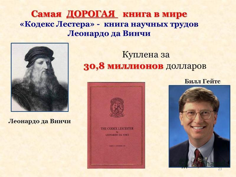 Самая ДОРОГАЯ книга в мире «Кодекс Лестера» - книга научных трудов Леонардо да Винчи Куплена за 30,8 миллионов 30,8 миллионов долларов Леонардо да Винчи Билл Гейтс 23