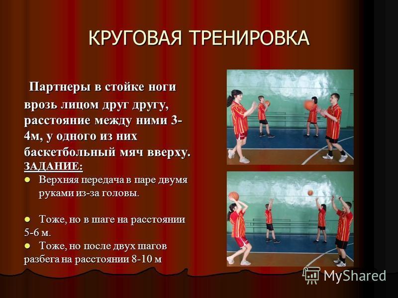 КРУГОВАЯ ТРЕНИРОВКА Партнеры в стойке ноги врозь лицом друг другу, расстояние между ними 3- 4 м, у одного из них баскетбольный мяч вверху. Партнеры в стойке ноги врозь лицом друг другу, расстояние между ними 3- 4 м, у одного из них баскетбольный мяч