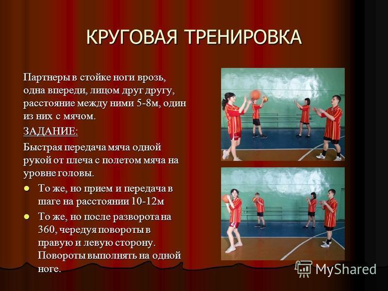 КРУГОВАЯ ТРЕНИРОВКА Партнеры в стойке ноги врозь, одна впереди, лицом друг другу, расстояние между ними 5-8 м, один из них с мячом. ЗАДАНИЕ: Быстрая передача мяча одной рукой от плеча с полетом мяча на уровне головы. То же, но прием и передача в шаге