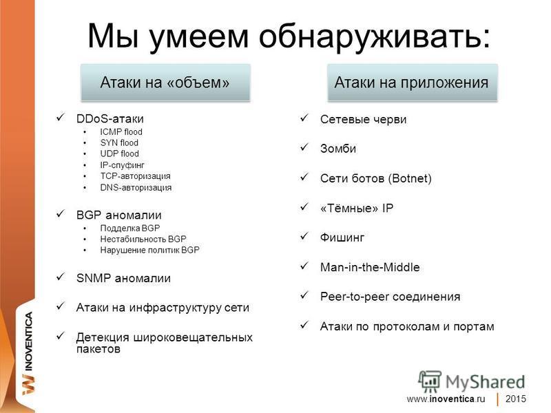 www.inoventica.ru 2015 Мы умеем обнаруживать: DDoS-атаки ICMP flood SYN flood UDP flood IP-спуфинг TCP-авторизация DNS-авторизация BGP аномалии Подделка BGP Нестабильность BGP Нарушение политик BGP SNMP аномалии Атаки на инфраструктуру сети Детекция