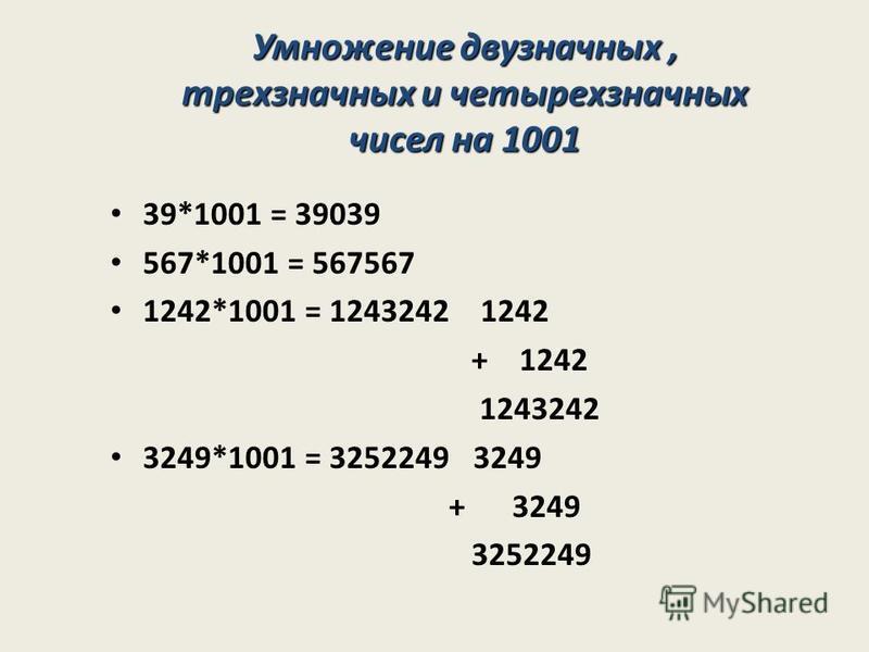 39*1001 = 39039 567*1001 = 567567 1242*1001 = 1243242 1242 + 1242 1243242 3249*1001 = 3252249 3249 + 3249 3252249 Умножение двузначных, трехзначных и четырехзначных чисел на 1001