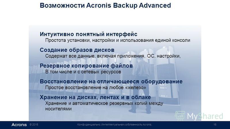 © 2015Конфиденциально. Интеллектуальная собственность Acronis.16 Возможности Acronis Backup Advanced Интуитивно понятный интерфейс Простота установки, настройки и использования единой консоли Создание образов дисков Содержат все данные, включая прило