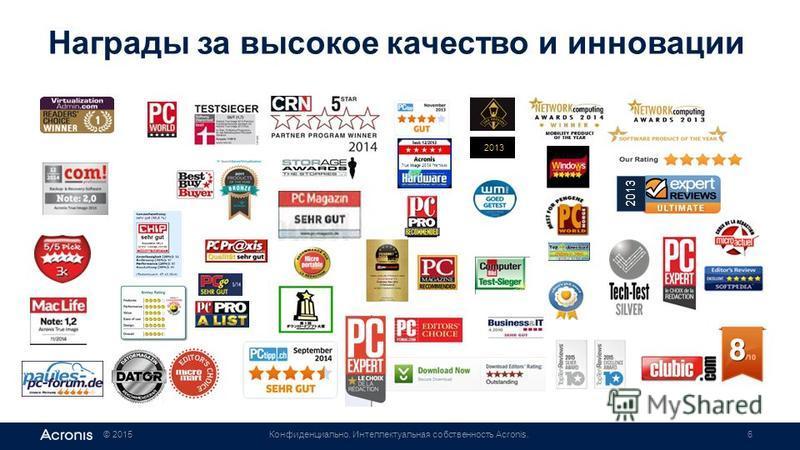 © 2015Конфиденциально. Интеллектуальная собственность Acronis.6 Награды за высокое качество и инновации 2013
