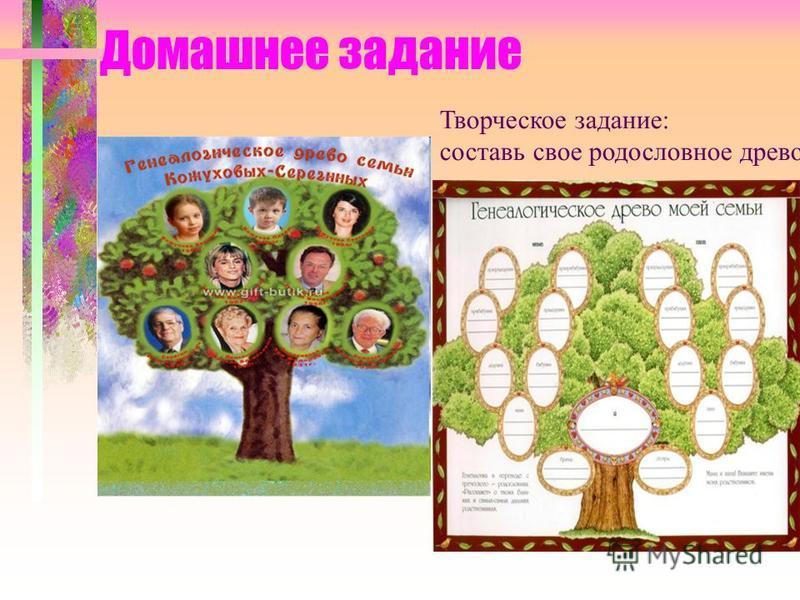 Домашнее задание Творческое задание: составь свое родословное древо