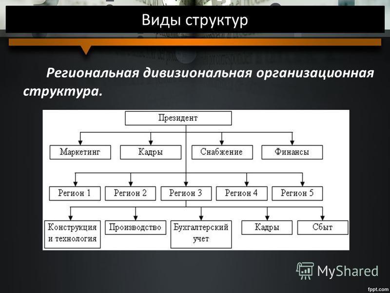 Виды структур Региональная дивизиональная организационная структура.
