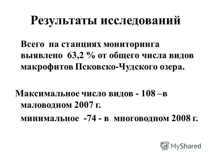 Результаты исследований Всего на станциях мониторинга выявлено 63,2 % от общего числа видов макрофитов Псковско-Чудского озера. Максимальное число видов - 108 –в маловодном 2007 г. минимальное -74 - в многоводном 2008 г.