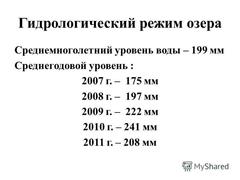 Гидрологический режим озера Среднемноголетний уровень воды – 199 мм Среднегодовой уровень : 2007 г. – 175 мм 2008 г. – 197 мм 2009 г. – 222 мм 2010 г. – 241 мм 2011 г. – 208 мм