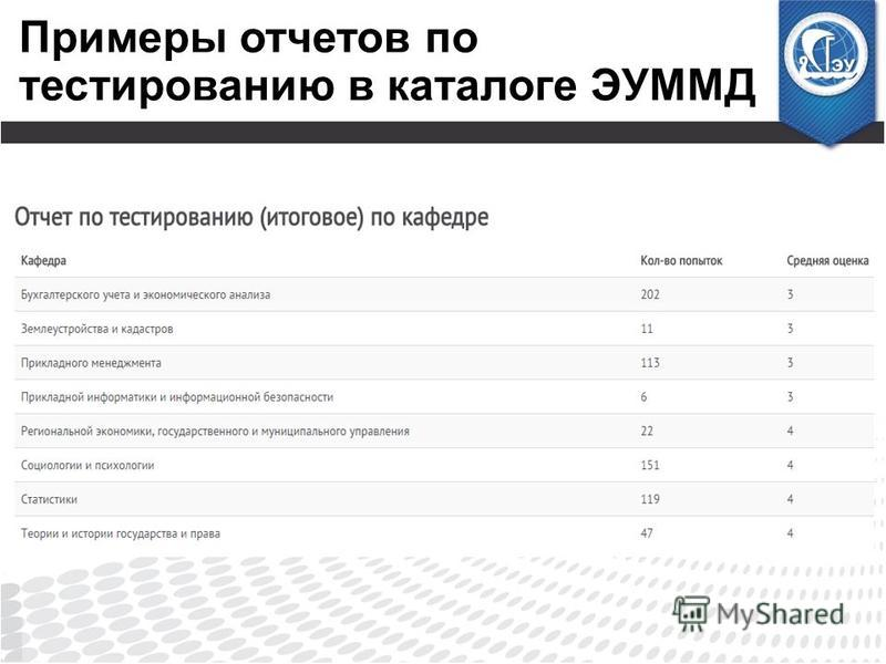 Примеры отчетов по тестированию в каталоге ЭУММД