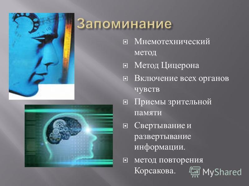 Мнемотехнический метод Метод Цицерона Включение всех органов чувств Приемы зрительной памяти Свертывание и развертывание информации. метод повторения Корсакова.