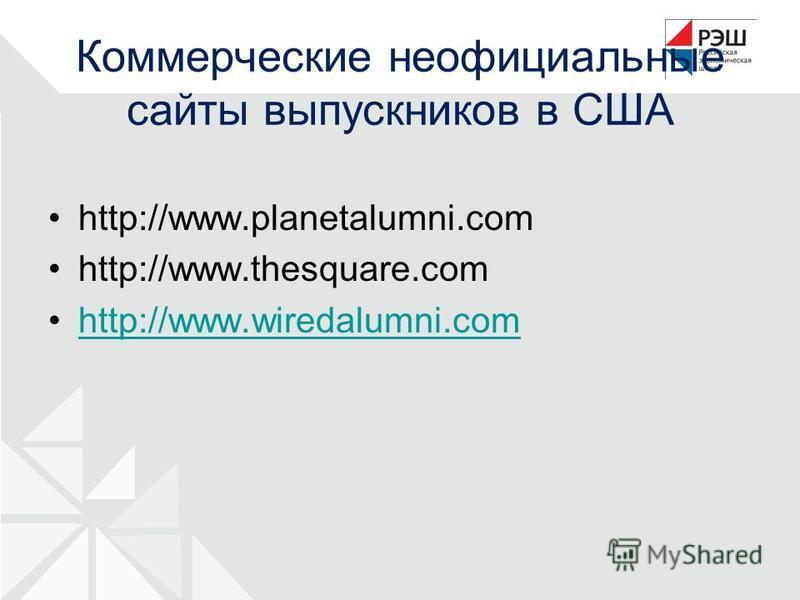 Коммерческие неофициальные сайты выпускников в США http://www.planetalumni.com http://www.thesquare.com http://www.wiredalumni.comhttp://www.wiredalumni.com