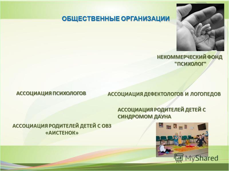 ОБЩЕСТВЕННЫЕ ОРГАНИЗАЦИИ НЕКОММЕРЧЕСКИЙ ФОНД ПСИХОЛОГ ПСИХОЛОГ АССОЦИАЦИЯ ПСИХОЛОГОВ АССОЦИАЦИЯДЕФЕКТОЛОГОВ И ЛОГОПЕДОВ АССОЦИАЦИЯ ДЕФЕКТОЛОГОВ И ЛОГОПЕДОВ АССОЦИАЦИЯ РОДИТЕЛЕЙ ДЕТЕЙ С ОВЗ «АИСТЕНОК» АССОЦИАЦИЯ РОДИТЕЛЕЙ ДЕТЕЙ С СИНДРОМОМ ДАУНА