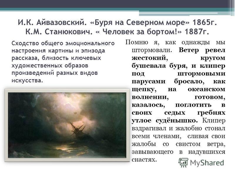 И.К. Айвазовский. «Буря на Северном море» 1865 г. К.М. Станюкович. « Человек за бортом!» 1887 г. Помню я, как однажды мы штормовали. Ветер ревел жестокий, кругом бушевала буря, и клипер под штормовыми парусами бросало, как щепку, на океанском волнени