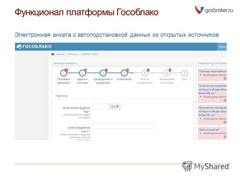 Функционал платформы Гособлако Электронная анкета с автоподстановкой данных из открытых источников