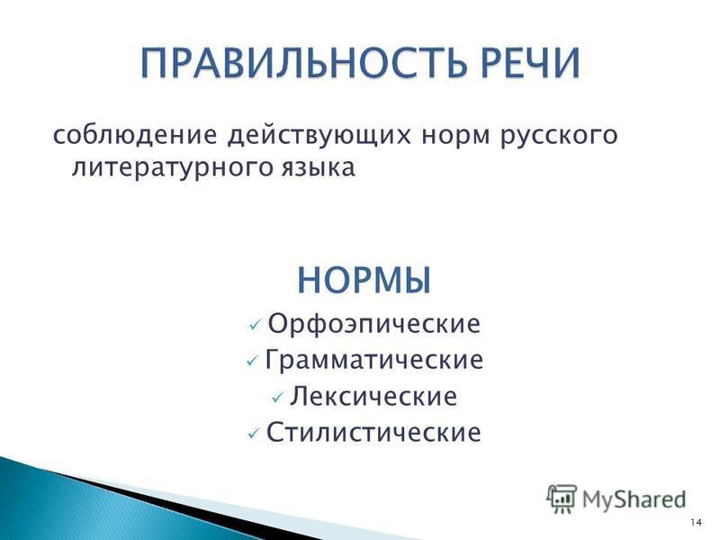 соблюдение действующих норм русского литературного языка НОРМЫ Орфоэпические Грамматические Лексические Стилистические 14