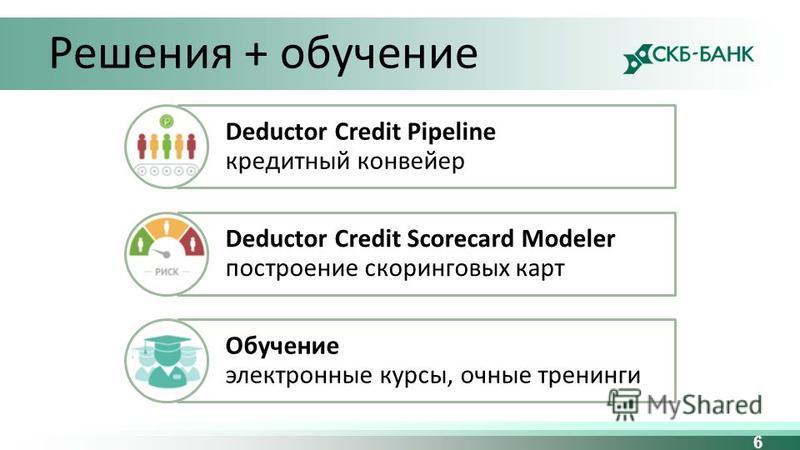 6 Решения + обучение Deductor Credit Pipeline кредитный конвейер Deductor Credit Scorecard Modeler построение скоринговых карт Обучение электронные курсы, очные тренинги