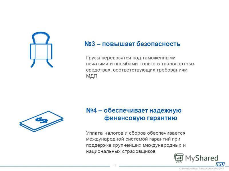 12 3 – повышает безопасность Грузы перевозятся под таможенными печатями и пломбами только в транспортных средствах, соответствующих требованиям МДП 4 – обеспечивает надежную финансовую гарантию Уплата налогов и сборов обеспечивается международной сис