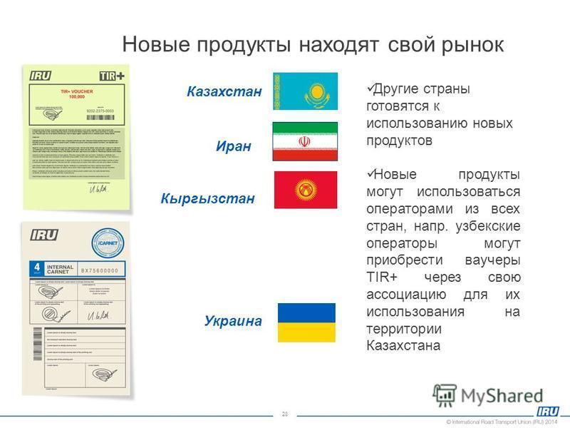 28 Новые продукты находят свой рынок Казахстан Иран Кыргызстан Украина Другие страны готовятся к использованию новых продуктов Новые продукты могут использоваться операторами из всех стран, напр. узбекские операторы могут приобрести ваучеры TIR+ чере