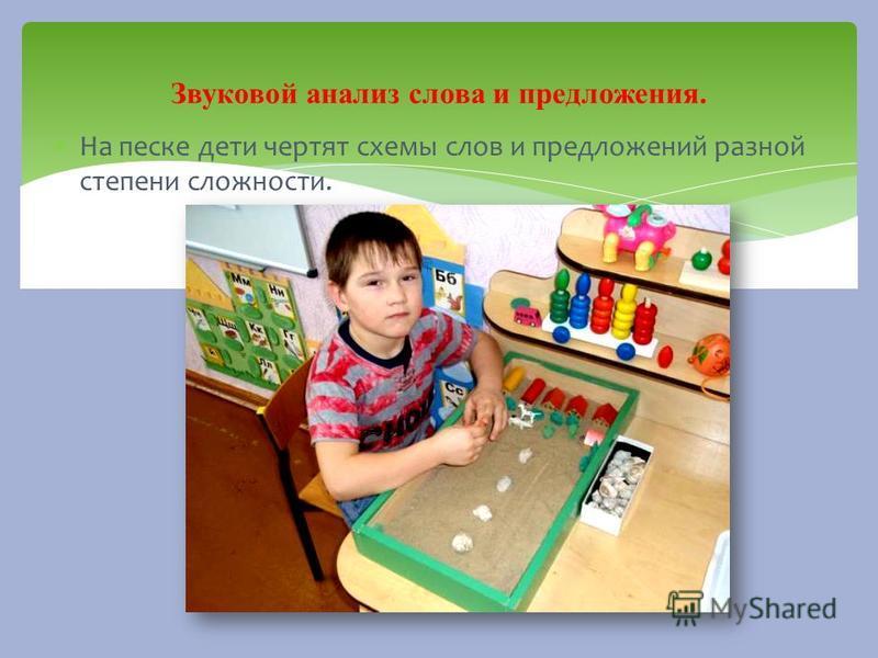 На песке дети чертят схемы слов и предложений разной степени сложности. Звуковой анализ слова и предложения.