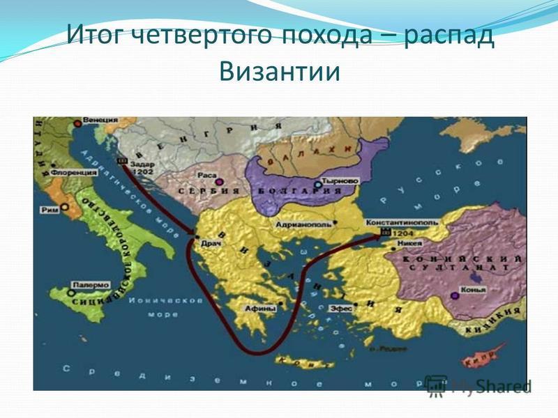 Итог четвертого похода – распад Византии