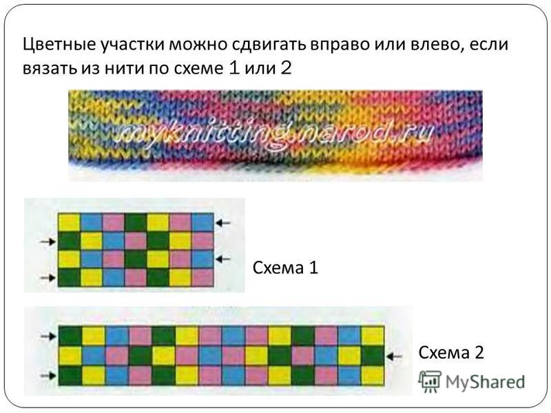 Цветные участки можно сдвигать вправо или влево, если вязать из нити по схеме 1 или 2 Схема 1 Схема 2