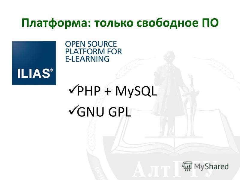 Платформа: только свободное ПО PHP + MySQL GNU GPL