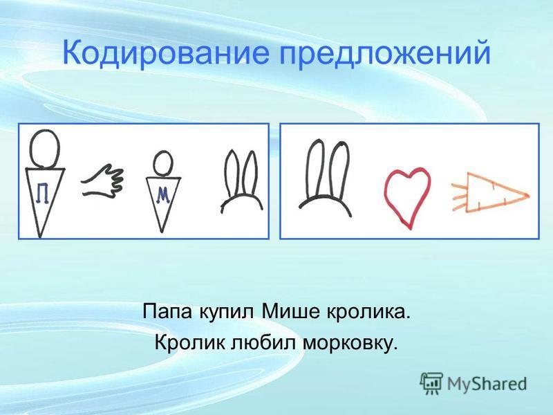 Кодирование предложений Папа купил Мише кролика. Кролик любил морковку.