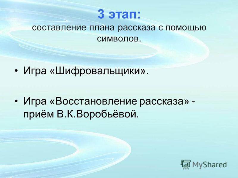 3 этап: составление плана рассказа с помощью символов. Игра «Шифровальщики». Игра «Восстановление рассказа» - приём В.К.Воробьёвой.