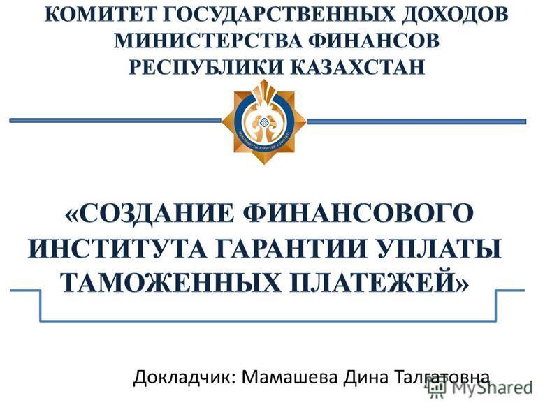 Докладчик: Мамашева Дина Талгатовна
