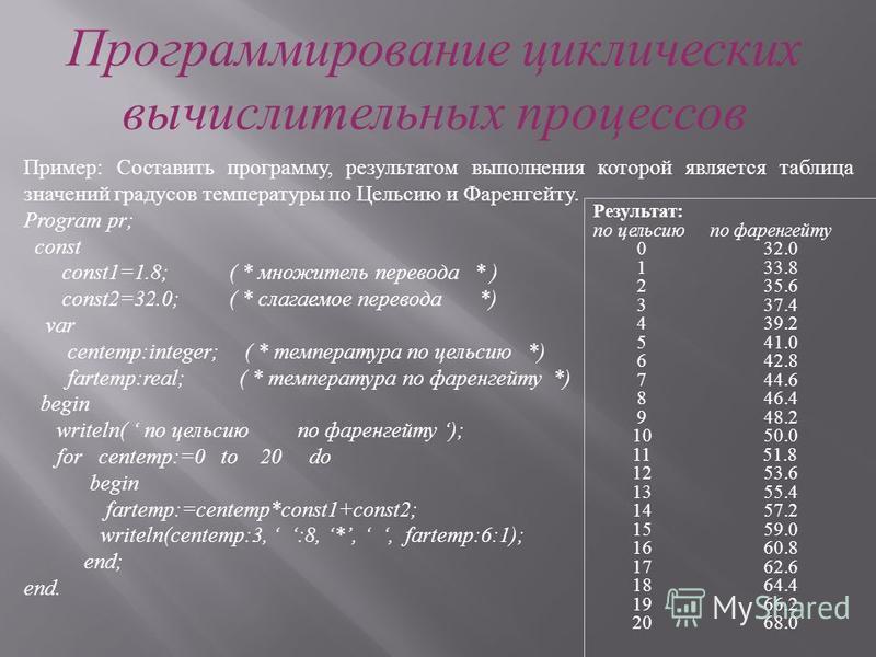 Пример: Дан произвольный текст. Признаком конца текста считается нажатие клавиши Enter. Подсчитать общее количество введенных символов текста и число букв Т в тексте. Пояснение: так как заранее не известно, сколько раз будет выполняться цикл, для его