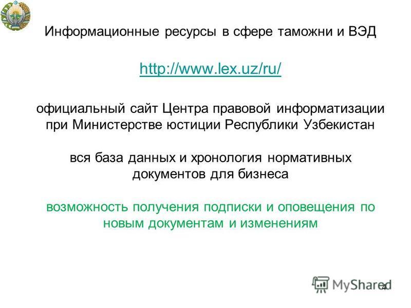Информационные ресурсы в сфере таможни и ВЭД http://www.lex.uz/ru/ официальный сайт Центра правовой информатизации при Министерстве юстиции Республики Узбекистан вся база данных и хронология нормативных документов для бизнеса возможность получения по