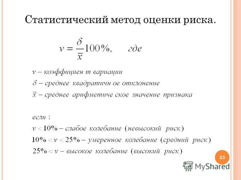 Статистический метод оценки риска. 23