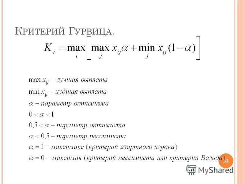 К РИТЕРИЙ Г УРВИЦА. 33