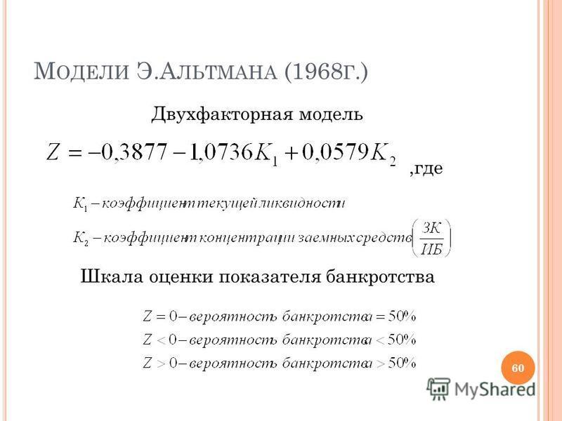 М ОДЕЛИ Э.А ЛЬТМАНА (1968 Г.) Двухфакторная модель,где Шкала оценки показателя банкротства 60
