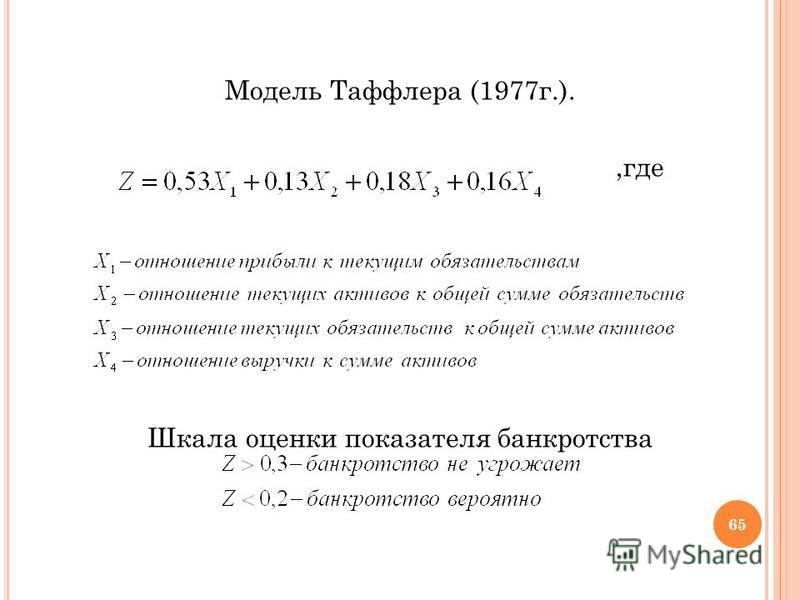 Модель Таффлера (1977 г.).,где Шкала оценки показателя банкротства 65