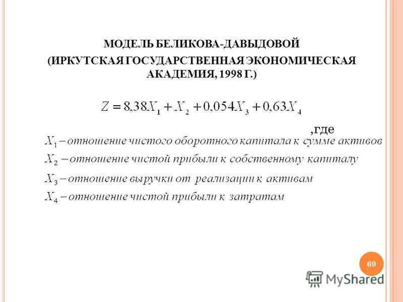 МОДЕЛЬ БЕЛИКОВА-ДАВЫДОВОЙ (ИРКУТСКАЯ ГОСУДАРСТВЕННАЯ ЭКОНОМИЧЕСКАЯ АКАДЕМИЯ, 1998 Г.),где 69