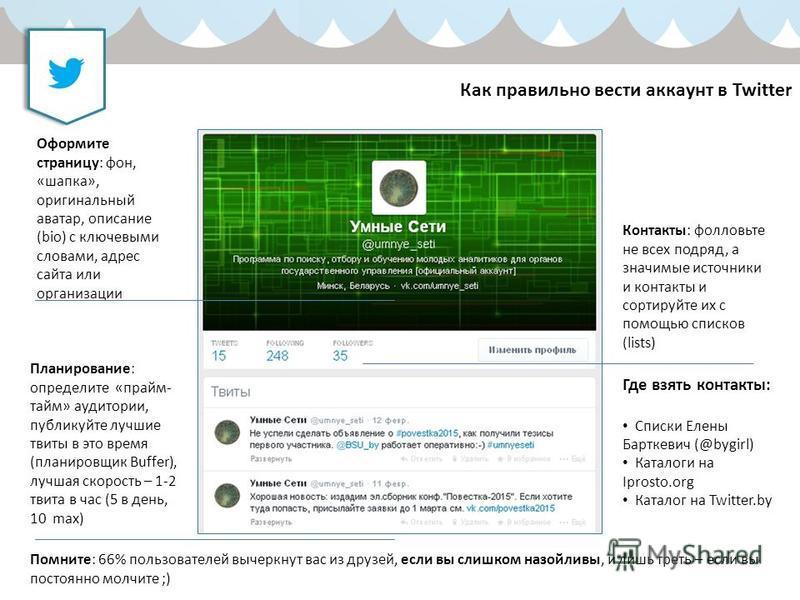 Как правильно вести аккаунт в Twitter Оформите страницу: фон, «шапка», оригинальный аватар, описание (bio) с ключевыми словами, адрес сайта или организации Планирование: определите «прайм- тайм» аудитории, публикуйте лучшие твиты в это время (планиро