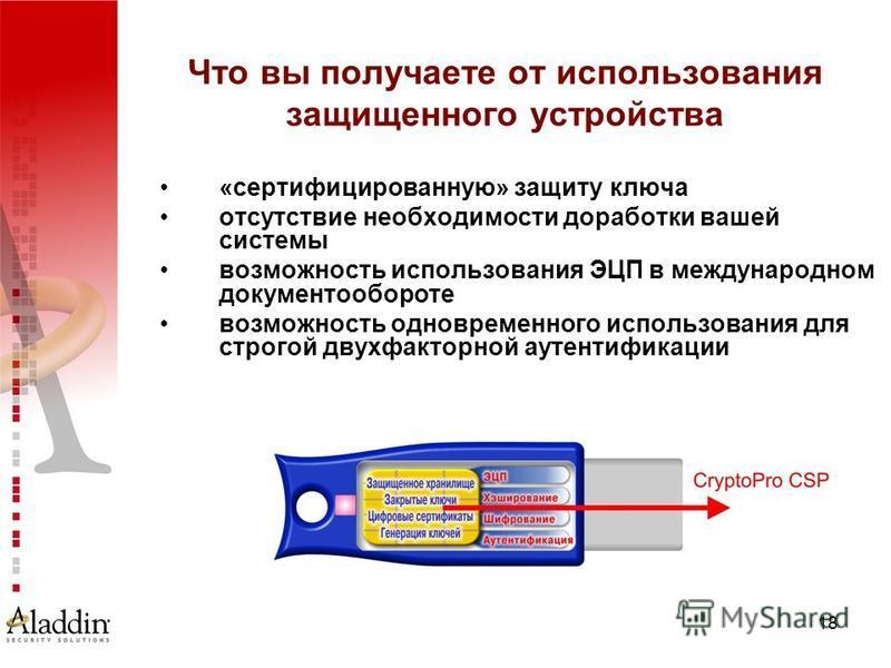 18 Что вы получаете от использования защищенного устройства «сертифицированную» защиту ключа отсутствие необходимости доработки вашей системы возможность использования ЭЦП в международном документообороте возможность одновременного использования для