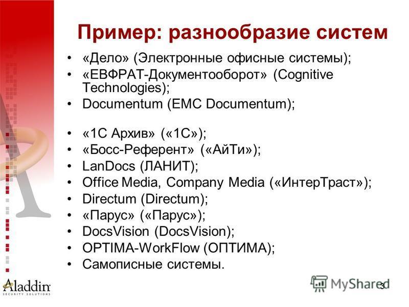 3 Пример: разнообразие систем «Дело» (Электронные офисные системы); «ЕВФРАТ-Документооборот» (Cognitive Technologies); Documentum (EMC Documentum); «1С Архив» («1С»); «Босс-Референт» («Ай Ти»); LanDocs (ЛАНИТ); Office Media, Company Media («Интер Тра