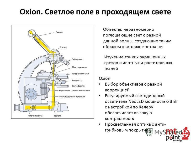 Oxion. Светлое поле в проходящем свете Изучение тонких окрашенных срезов животных и растительных тканей Объекты: неравномерно поглощающие свет с разной длиной волны, создающие таким образом цветовые контрасты Oxion Выбор объективов с разной коррекцие