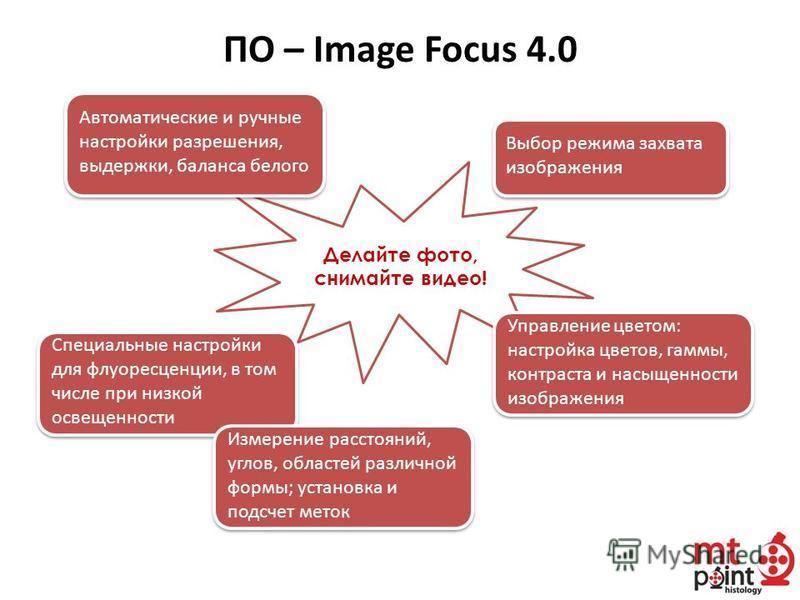 Делайте фото, снимайте видео! ПО – Image Focus 4.0 Управление цветом: настройка цветов, гаммы, контраста и насыщенности изображения Управление цветом: настройка цветов, гаммы, контраста и насыщенности изображения Автоматические и ручные настройки раз