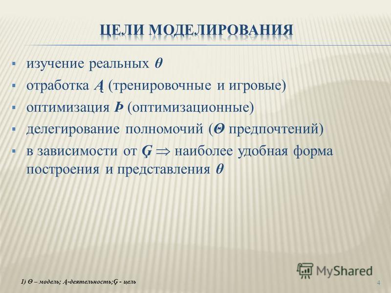 изучение реальных θ отработка Ą (тренировочные и игровые) оптимизация Þ (оптимизационные) делегирование полномочий (Θ предпочтений) в зависимости от Ģ наиболее удобная форма построения и представления θ 4 1) Θ – модель; Ą-деятельность;Ģ - цель