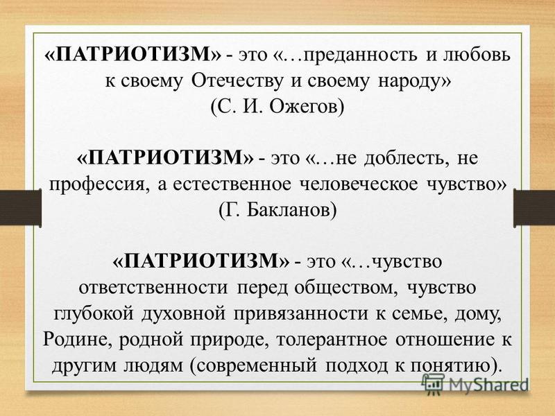 «ПАТРИОТИЗМ» - это «…преданность и любовь к своему Отечеству и своему народу» (С. И. Ожегов) «ПАТРИОТИЗМ» - это «…не доблесть, не профессия, а естественное человеческое чувство» (Г. Бакланов) «ПАТРИОТИЗМ» - это «…чувство ответственности перед обществ