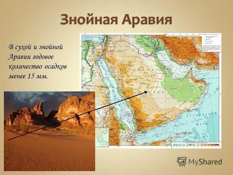 В сухой и знойной Аравии годовое количество осадков менее 15 мм.