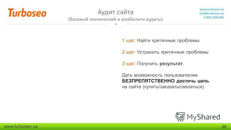 Аудит сайта (базовый технический и юзабилити аудиты) www.turboseo.ua info@turboseo.ua 0 800 509-600 www.turboseo.ua 25 1 шаг: Найти критичные проблемы 2 шаг: Устранить критичные проблемы 3 шаг: Получить результат. Дать возможность пользователям БЕЗПР