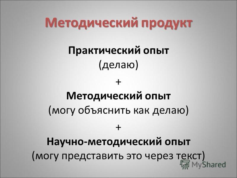 Методический продукт Практический опыт (делаю) + Методический опыт (могу объяснить как делаю) + Научно-методический опыт (могу представить это через текст)