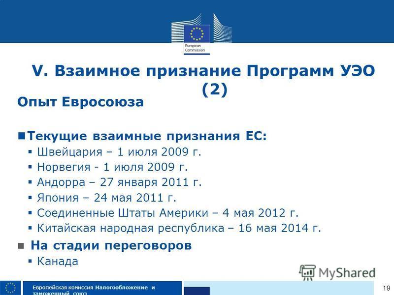 19 Европейская комиссия Налогообложение и таможенный союз V. Взаимное признание Программ УЭО (2) Опыт Евросоюза Текущие взаимные признания ЕС: Швейцария – 1 июля 2009 г. Норвегия - 1 июля 2009 г. Андорра – 27 января 2011 г. Япония – 24 мая 2011 г. Со