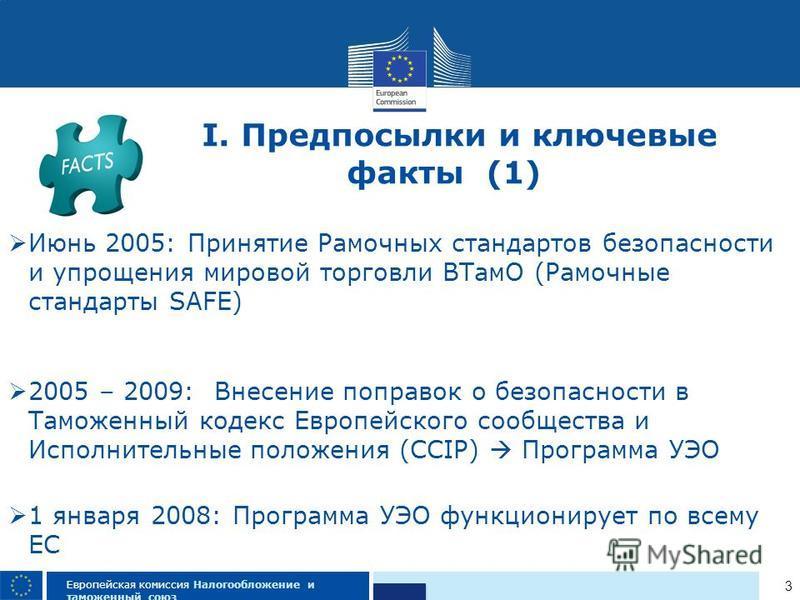3 Европейская комиссия Налогообложение и таможенный союз Июнь 2005: Принятие Рамочных стандартов безопасности и упрощения мировой торговли ВТамО (Рамочные стандарты SAFE) 2005 – 2009: Внесение поправок о безопасности в Таможенный кодекс Европейского
