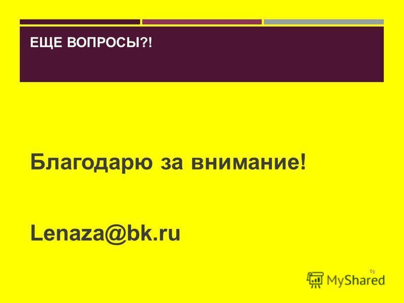 ЕЩЕ ВОПРОСЫ?! Благодарю за внимание! Lenaza@bk.ru 69