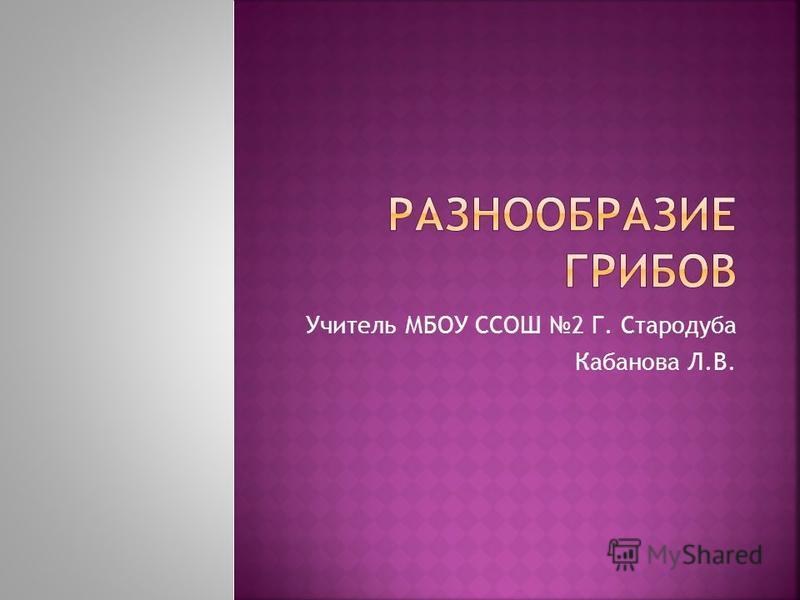 Учитель МБОУ ССОШ 2 Г. Стародуба Кабанова Л.В.